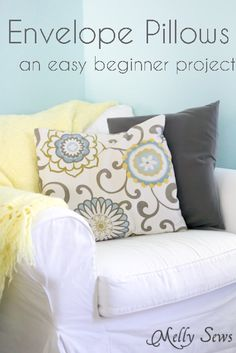 Video tutorial and written tutorial showing how to sew envelope pillowcases - beginner sewing projects - Melly Sews