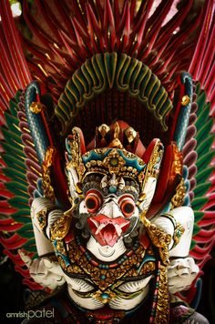 Garuda - Man-Bird Deity, Bali Legend Symbol, Mask Face Paint, Mythical Birds, Bird Masks, Vietnam, Oriental, Krishna Art, World Of Color, Balinese