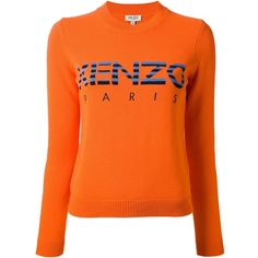 KENZO logo print sweater (9,045 THB) ❤ liked on Polyvore featuring tops, sweaters, striped sweater, orange striped sweater, ribbed top, orange top and striped long sleeve top