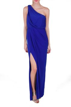 BCBGMAXAZRIA Blue For You One Shoulder Gown
