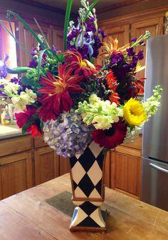 MacKenzie Childs vase, J. Langford floral design.
