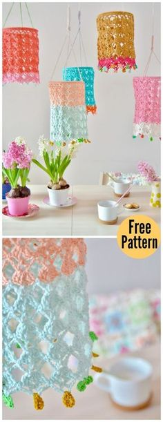 Cute Crochet Patterns Pretty Lantern Free Crochet Pattern - This Pretty Lantern Free Crochet Pattern is a cool decoration to put around the house. Make your own with the free pattern provided below! Lampe Crochet, Crochet Lampshade, Crochet Diy, Crochet Motifs, Crochet Gifts, Crochet Stitches, Crochet Patterns, Crochet Ideas, Vintage Crochet