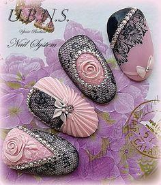 Very seductive Lace Nail Art, Lace Nails, 3d Nail Art, Flower Nails, Pink Nails, Sexy Nails, Fabulous Nails, Gorgeous Nails, Pretty Nails