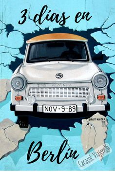 Berlin Wall mural of the iconic Trabant. The recently renovated mural of Check P , Karl Marx, Resorts, East Side Gallery, Reunification, Berlin Wall, Car Crash, Find Hotels, Urban Art, Wall Murals