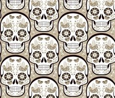 Sugar skull - beige surface design by gaiamarfurt for Spoonflower