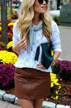 Grid Print Top + Leather Skirt