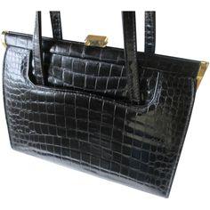 Kelly Bag Purse Vintage 1950s Black Embossed Leather Alligator Crocodile Reptile Mylady England http://www.rubylane.com/item/676693-ACC169/Kelly-Bag-Purse-Vintage-1950s-Black