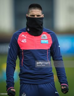 Aleksandar Mitrovic during the Newcastle United Training session at The Newcastle United Training Centre on April 18 in Newcastle upon Tyne, England. Newcastle, Training Center, Motorcycle Jacket, Centre, England, Football, Athletic, Club, Hoodies
