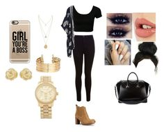 """""""Black is the New Gold"""" by kayybaeee on Polyvore featuring Miss Selfridge, Tory Burch, Charlotte Tilbury, Givenchy, Casetify, H&M, Effy Jewelry and Michael Kors"""