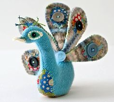 "peacock from the book ""Countryside Softies"", with patterns and details for making your own fibery friends"