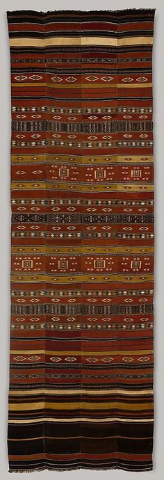 Africa | Interior Hanging (arkilla kereka) from the Fulani people of Niger | ca. 1st half 20th century | Wool, cotton, dye |  These types of cloths are tent-dividers and marriage-bed hangings. //
