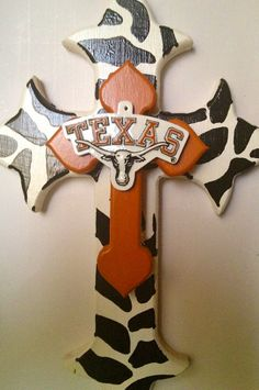 University of Texas painted wooden cross by SouthernBaseballLove, $20.00