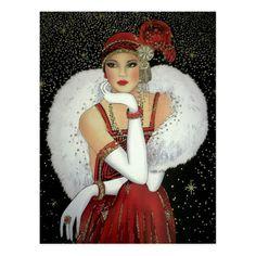 Christmas Poster, Christmas Art, Christmas Postcards, Vintage Christmas, Art Deco Paintings, Art Deco Illustration, Art Deco Posters, Postcard Art, 1920s Art Deco