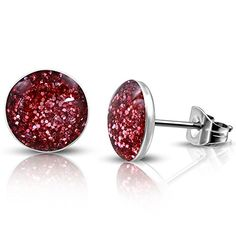 7mm  Stainless Steel Pink Druzy Crystal Circle Stud Earrings pair  LEB267 >>> Visit the image link more details. Note:It is Affiliate Link to Amazon.