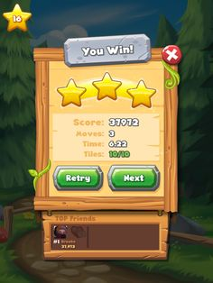 Forest Home | Results Post Facebook Connect| UI, HUD, User Interface, Game Art, GUI, iOS, Apps, Games, Grahic Desgin, Puzzle Game, Maze Games, Brain Games | www.girlvsgui.com