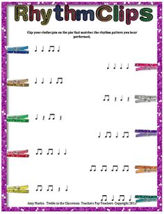 Treble in the Classroom: Clothespin Clip Rhythm Game/Assessment Kit