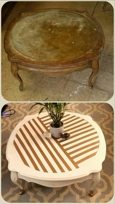 Before and after, Coffee table redo, upcycle, DIY, painted furniture, white and gold, thrift store find, furniture makeover. @idlehandsdecor