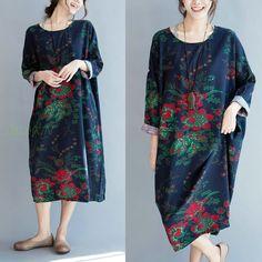 Blume Kleid Gedruckt Kleid Runde Kragen Kleid von ladykin auf DaWanda.com