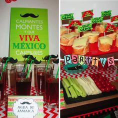 PARTTIS :: Agua de jamaica, toppers y bandera hecha con crudités y queso para una fiesta mexicana :: Hibiscus water, toppers and flag made of cucumber, fromage and tomatoes for a mexican party