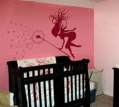 Fairy with magic dandelion wall sticker