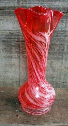 Vintage Lefton Red Orange and White Swirl Glass Art Bud Vase, Vintage Slag Glass Vase by EmptyNestVintage on Etsy