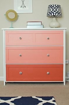 Coral Ombre drawers are so cool! Use them to add a pop of color to your bedroom this weekend.