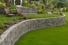garden landscape retaining wall design ideas lawn outdoor furniture