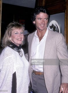 Actor Patrick Duffy and wife Carlyn attend a Party for Glen A. Larson on October 23, 1985 at Chasen's Restaurant in Beverly Hills, California.
