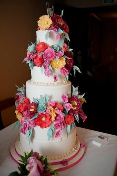 Floral Wedding Cake On Bridebookcouk