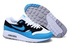 For Wholesale Mens Nike Air Max 1 White Black Blue Glow Sneakers 58c7af7e4