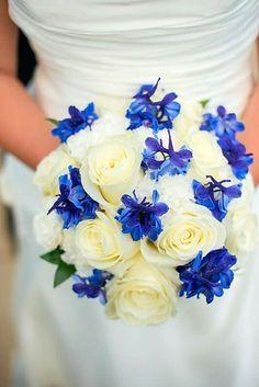 Ivory Roses, Additional White Florals & Blue Delphinium (Larkspur) Bride's Bouquet