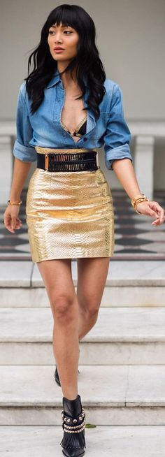 Denim On Gold Fall Inspo by Micah Gianneli