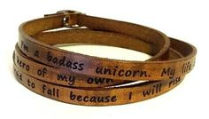 brown leather wrap bracelet with unicorn quote