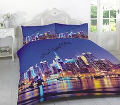 New York City Printed Duvet Quilt Cover Bedding Set — Linens Range