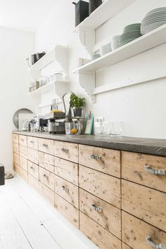 rustic cabinets, open shelves