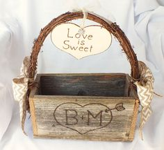Rustic wedding centerpiece with chevron bows ButterBeanVintage