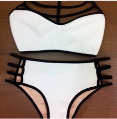 HOT WHITE HIGH NECK BELLYBAND TWO PIECE BIKINI