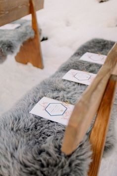 Fur lined seats for this outdoor Austrian Alps elopement Photo: @vividsymphony