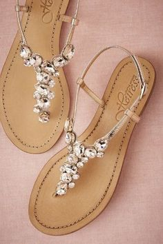 Demure Sandals in Shoes & Accessories Shoes at fashion shoes shoes shoes shoes Pretty Shoes, Beautiful Shoes, Cute Shoes, Me Too Shoes, Beach Wedding Sandals, Wedding Shoes, Wedding Beach, Bridal Sandals, Beach Shoes