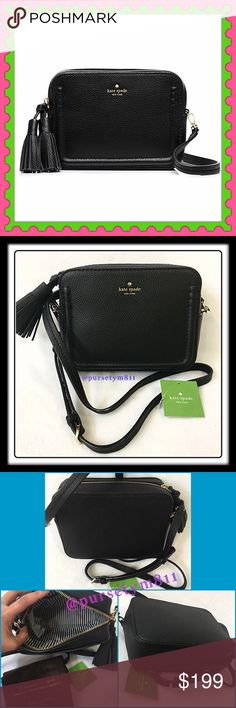 """Authentic Kate Spade Black Leather Handbag 💯AUTHENTIC 💞 Gorgeous & luxurious black leather handbag from Kate Spade🌹 Approximate measurements: Length 8"""" Height 6"""" Width 2 3/4"""" w/ adjustable & detachable long strap. Pocket inside w/ front exterior compartment. Zipper top closure. Yellow gold tone hardware. New w/ tag and dust bag. NO TRADE ❌ kate spade Bags Crossbody Bags"""