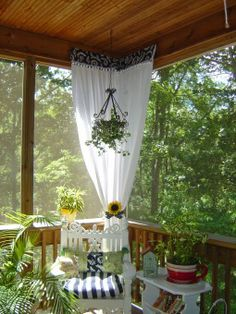 Black and White and Green All Over, I just redecorated my screened porch in citrus green black and white. My hubby and I have almost all o. Porch Curtains, Outdoor Curtains, Outdoor Rooms, Outdoor Living, Outdoor Ideas, Enclosed Porches, Decks And Porches, Screened In Porch, Cottage Porch