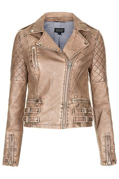 TOPSHOP Nude Quilted Biker Jacket!Biker Jacket #newJacket #fashionJacket #topmode #watsonlucy723  #BikerJacket    2dayslook.com