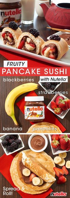 Sushi for breakfast is simpler than it sounds. Just spread a pancake with Nutella®, add fruit, roll and slice. Enjoy and remember, chopsticks optional. Sushi for breakfast is simpler than it sounds. Just spread a pancake with Nutella®, add fr Fruit Sushi, Candy Sushi, Dessert Sushi, Fruit Roll, Cute Breakfast Ideas, Breakfast Sushi, Nutella Brownies, Nutella Pancakes, Sushi For Kids