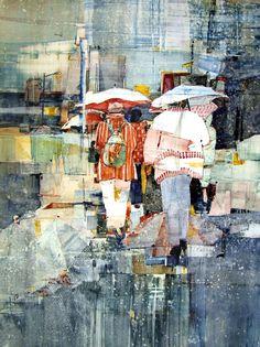 Sandy Maudlin 'London Bridges', Watercolor on YUPO, x 2008 Watercolor Landscape, Watercolor Paintings, Watercolor Images, Watercolors, Gustav Klimt, Illustrations, Illustration Art, Rain Art, Umbrella Art