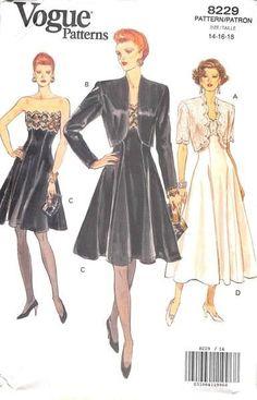 VOGUE 8229 - FROM 1991 - UNCUT - MISSES JACKET & DRESS