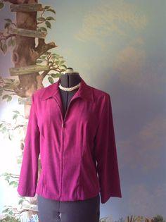 Briggs Long Sleeve Pink Velvety Fabric Zip Front Suit Jacket Blazer Size 8 #Briggs #Jacket