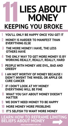 Do you want to manifest more money? Make more money? It all begins with your money mindset. Learn the 11 lies about money you are believing and how to reframe them. Make More Money, Ways To Save Money, Money Saving Tips, Money Tips, Extra Money, Money Affirmations, Positive Affirmations, Money Makeover, Law Of Attraction Money