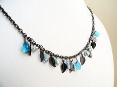 Aqua gypsy charm multi bead drop necklace by handmadeintoronto, $25.00