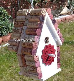 Wine cork birdhouse  - housewarming gift - happy hour for the birds