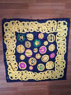 Authentic Navy Blue Gold Chanel Logo Silk Scarf Paris France #CHANEL #Scarf